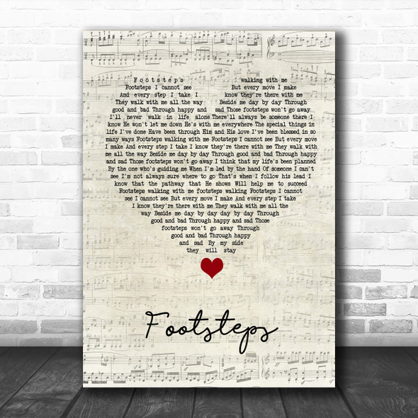 Daniel O'Donnell Footsteps Script Heart Song Lyric Quote Music Print