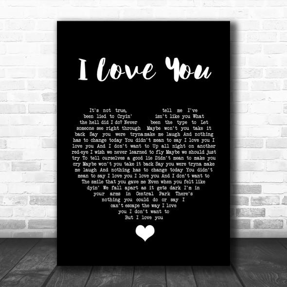 Billie Eilish I Love You Black Heart Song Lyric Quote Music Print