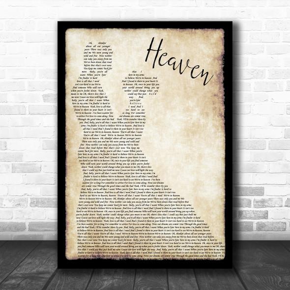 Bryan Adams Heaven Song Lyric Man Lady Dancing Music Wall Art Print
