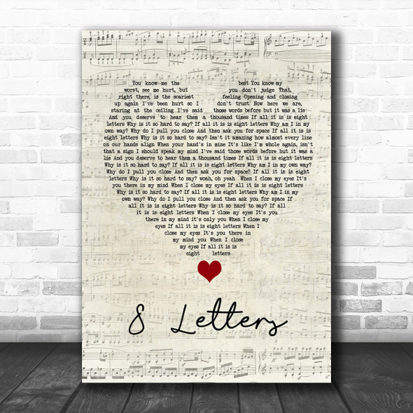 Why Don't We 8 Letters Script Heart Song Lyric Quote Music Print