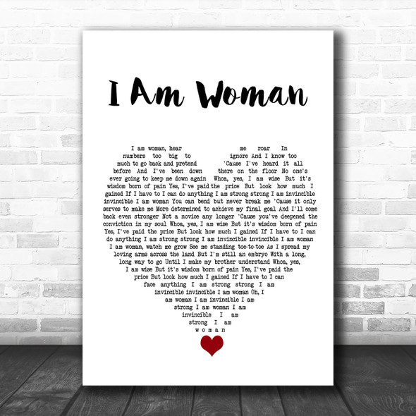 Helen Reddy I Am Woman White Heart Song Lyric Quote Music Print