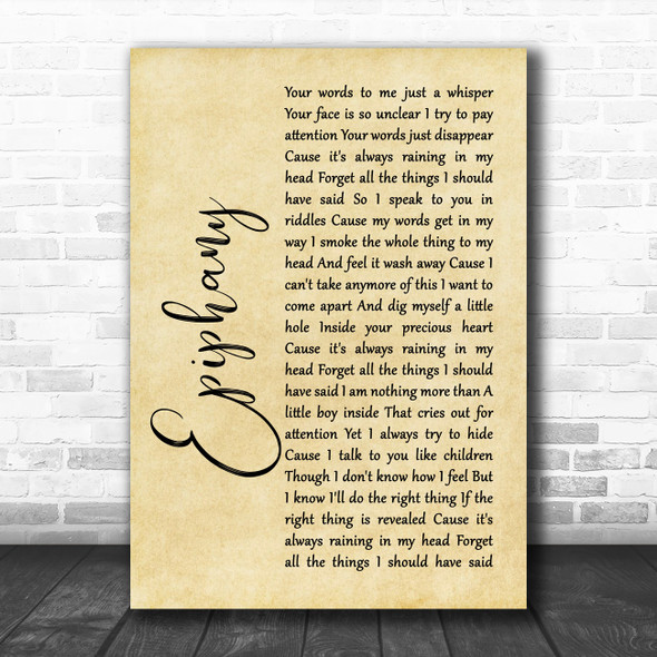 Staind Epiphany Rustic Script Song Lyric Quote Music Print