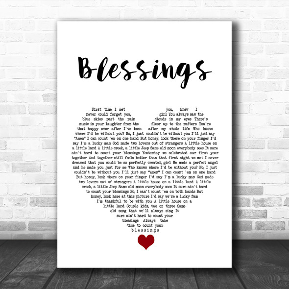 Florida Georgia Line Blessings White Heart Song Lyric Quote Music Print