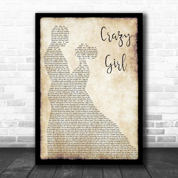 Eli Young Band Crazy Girl Song Lyric Man Lady Dancing Music Wall Art Print