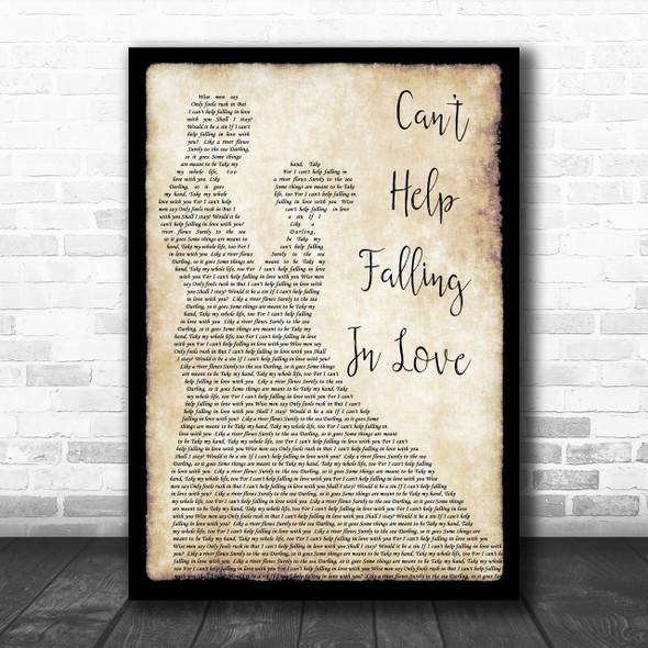 Elvis Presley Can't Help Falling In Love Song Lyric Man Lady Dancing Music Wall Art Print