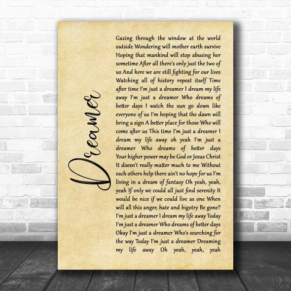 Ozzy Osbourne Dreamer Rustic Script Song Lyric Quote Music Print