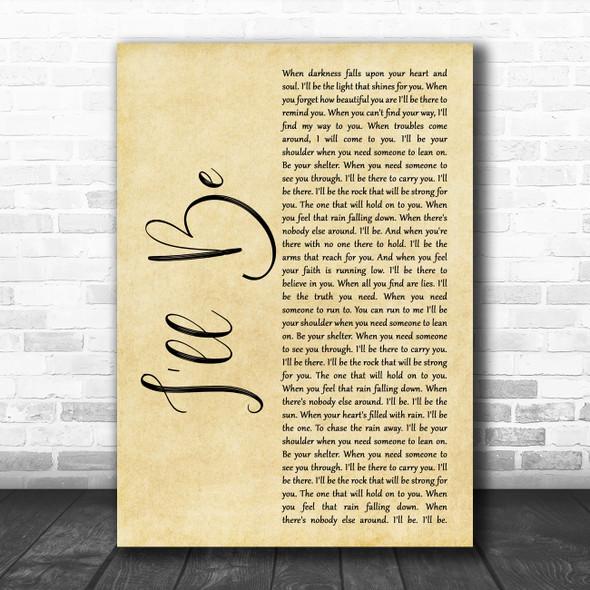 Reba McEntire I'll Be Rustic Script Song Lyric Quote Music Print