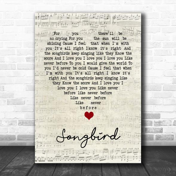 Eva Cassidy Songbird Script Heart Song Lyric Quote Music Print