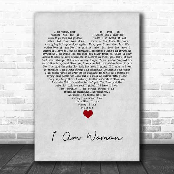 Helen Reddy I Am Woman Grey Heart Song Lyric Quote Music Print