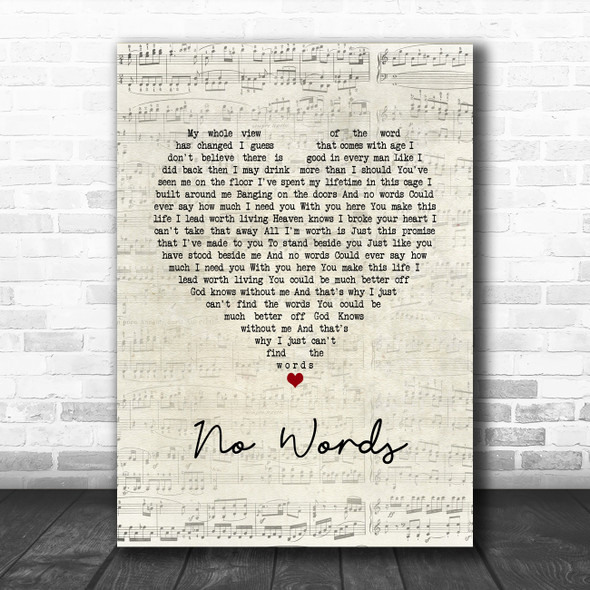 Cody Jinks No Words Script Heart Song Lyric Quote Music Print