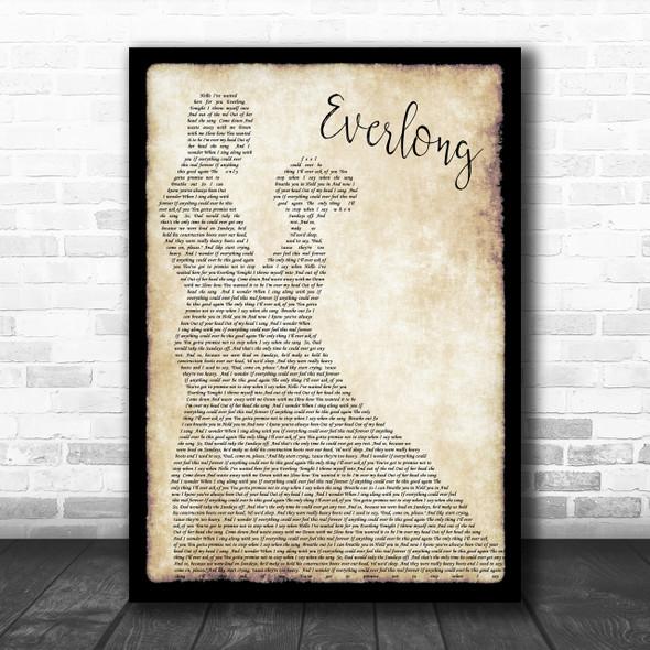 Foo Fighters Everlong Song Lyric Man Lady Dancing Music Wall Art Print