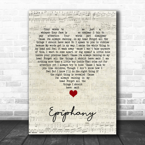 Staind Epiphany Script Heart Song Lyric Quote Music Print