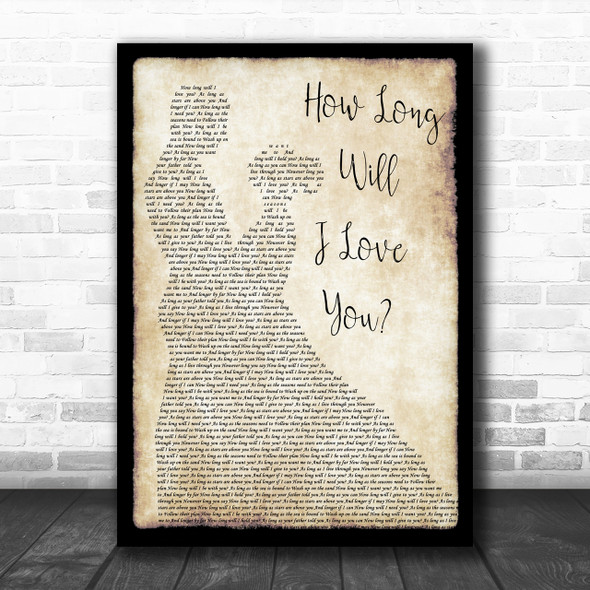 How Long Will I Love You Ellie Goulding Song Lyric Man Lady Dancing Music Wall Art Print
