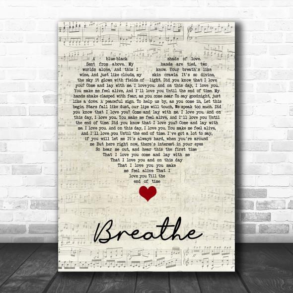 Angels & Airwaves Breathe Script Heart Song Lyric Quote Music Print