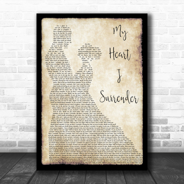 I Prevail My Heart I Surrender Man Lady Dancing Song Lyric Music Wall Art Print