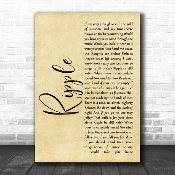 The Grateful Dead Ripple Rustic Script Song Lyric Quote Music Print