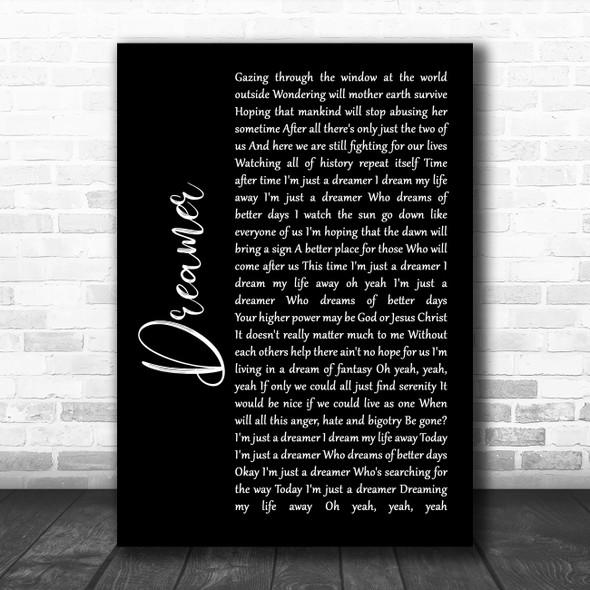 Ozzy Osbourne Dreamer Black Script Song Lyric Quote Music Print
