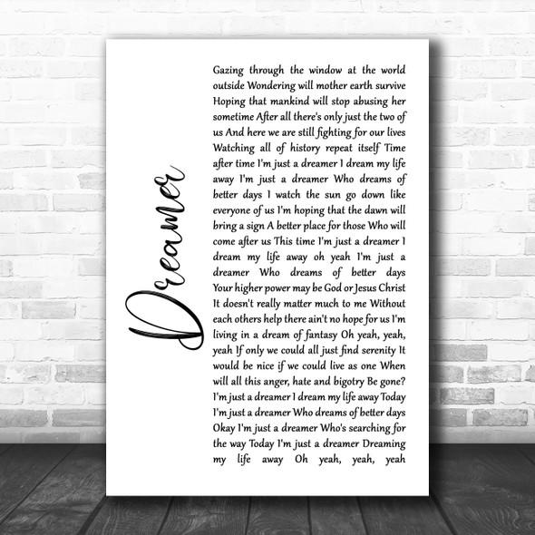 Ozzy Osbourne Dreamer White Script Song Lyric Quote Music Print