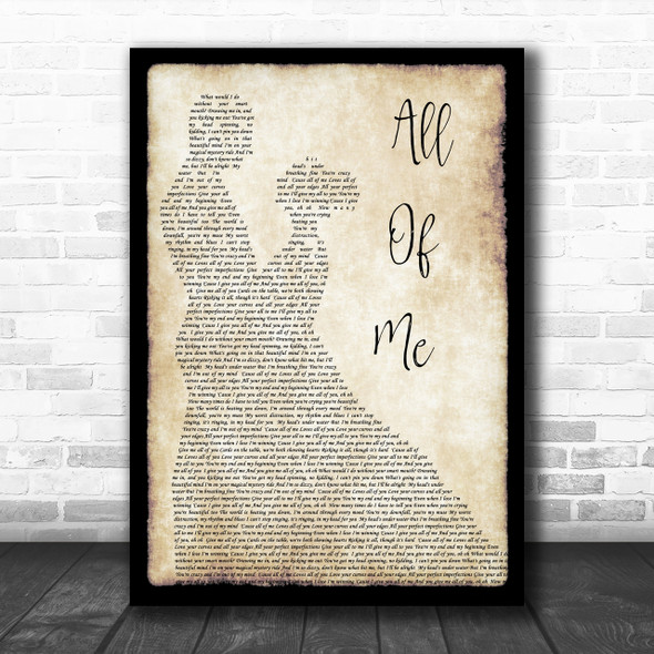 John Legend All Of Me Song Lyric Man Lady Dancing Music Wall Art Print