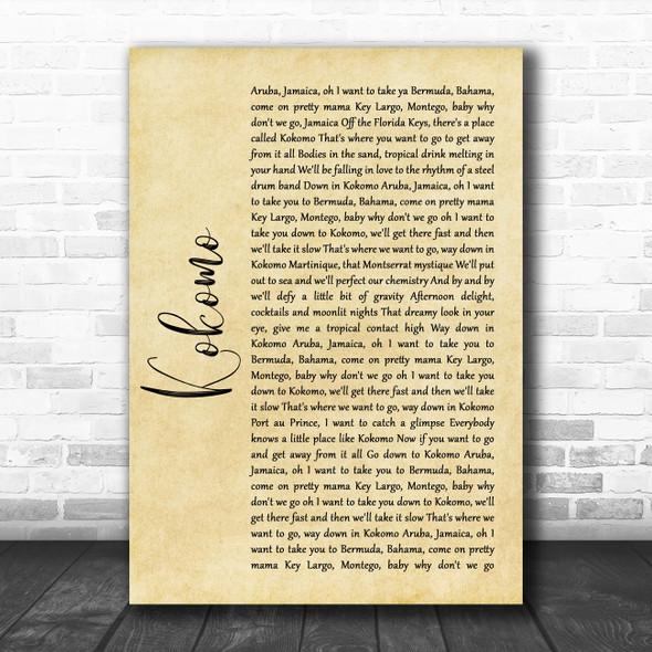 Beach Boys Kokomo Rustic Script Song Lyric Quote Music Print
