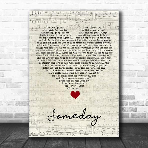 Rob Thomas Someday Script Heart Song Lyric Quote Music Print