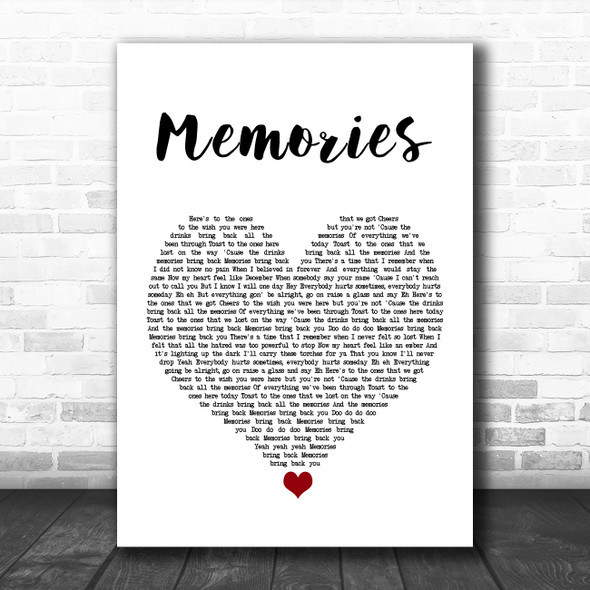 Maroon 5 Memories White Heart Song Lyric Quote Music Print