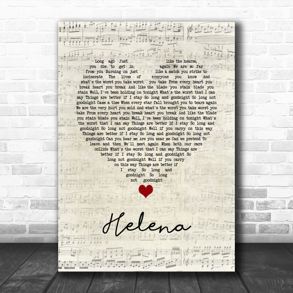 My Chemical Romance Helena Script Heart Song Lyric Quote Music Print