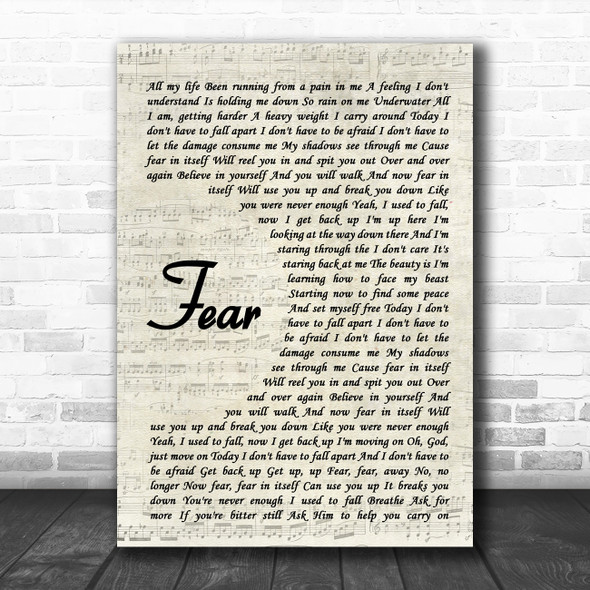 Blue October Fear Vintage Script Song Lyric Quote Music Print