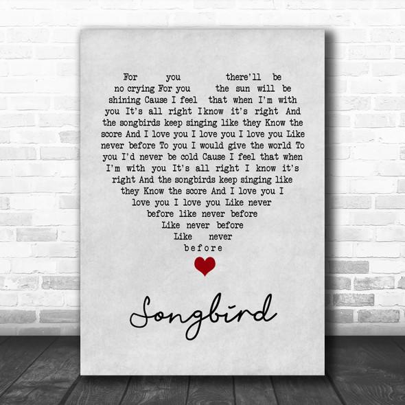 Eva Cassidy Songbird Grey Heart Song Lyric Quote Music Print