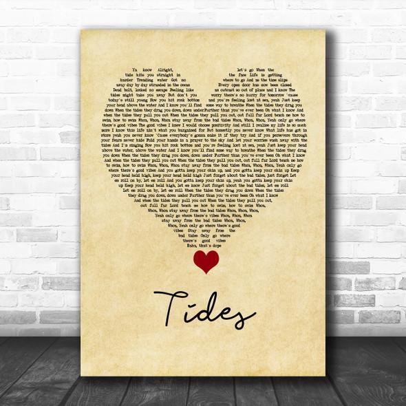 Jack & Jack Tides Vintage Heart Song Lyric Quote Music Print