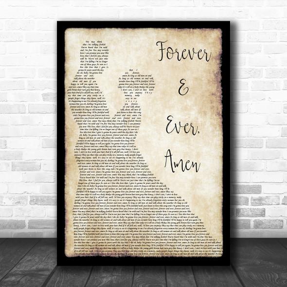 Randy Travis Forever & Ever, Amen Song Lyric Man Lady Dancing Music Wall Art Print