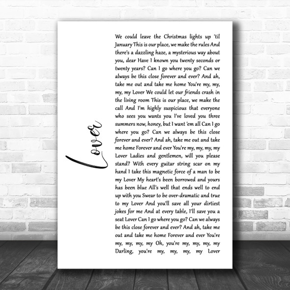 Taylor Swift Lover White Script Song Lyric Quote Music Print