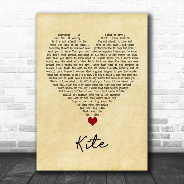 U2 Kite Vintage Heart Song Lyric Quote Music Print
