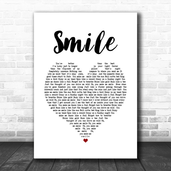 Uncle Kracker Smile White Heart Song Lyric Quote Music Print