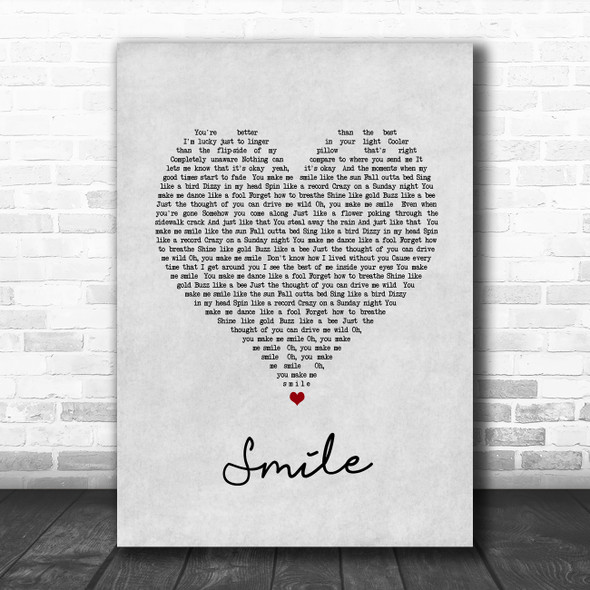 Uncle Kracker Smile Grey Heart Song Lyric Quote Music Print