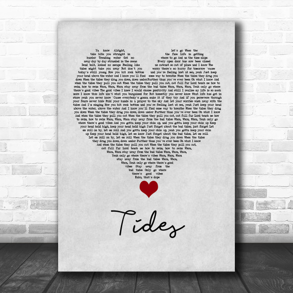 Jack & Jack Tides Grey Heart Song Lyric Quote Music Print