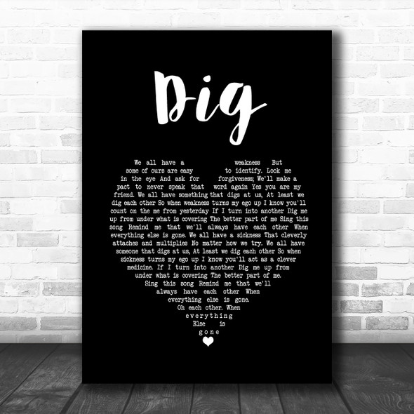 Incubus Dig Black Heart Song Lyric Quote Music Print