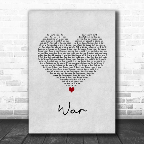 Good Charlotte War Grey Heart Song Lyric Quote Music Print