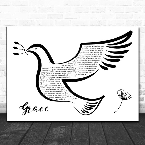 Rod Stewart Grace Black & White Dove Bird Song Lyric Wall Art Print
