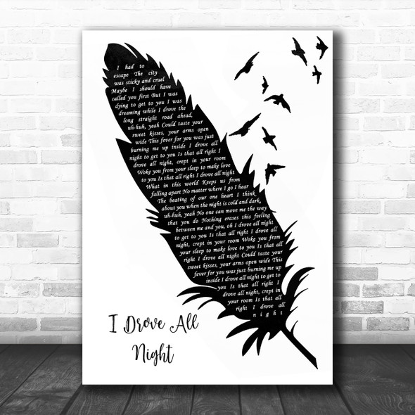 Roy Orbison I Drove All Night Black & White Feather & Birds Song Lyric Wall Art Print