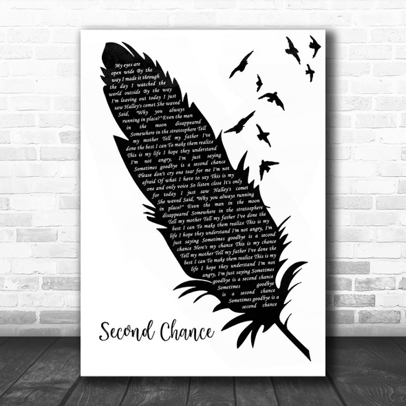 Shinedown Second Chance Black & White Feather & Birds Song Lyric Wall Art Print
