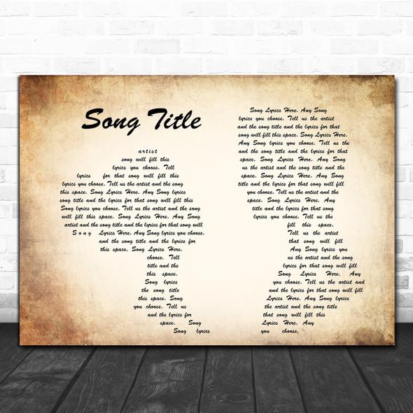 Any Song Lyrics Custom Landscape Couple Wall Art Personalized Lyrics Music Wall Art Print