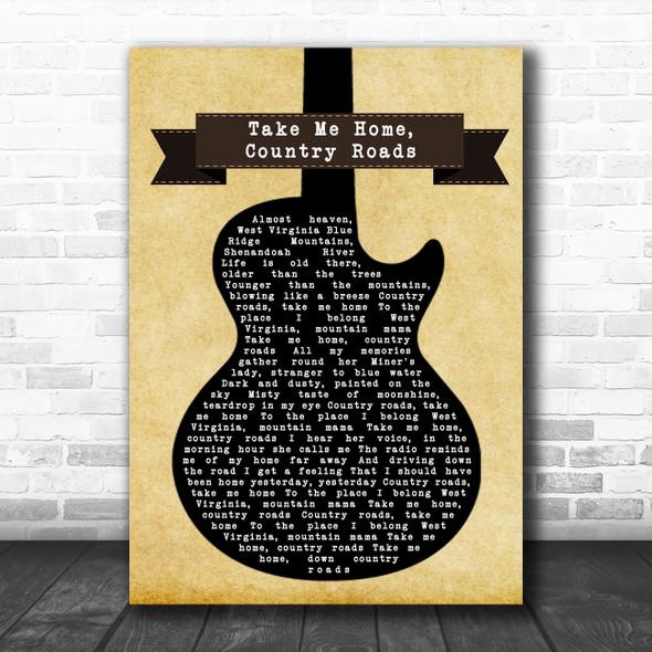 John Denver Take Me Home, Country Roads Black Guitar Song Lyric Wall Art Print