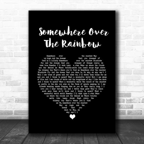 Israel Kamakawiwo'ole Somewhere Over The Rainbow Black Heart Song Lyric Wall Art Print