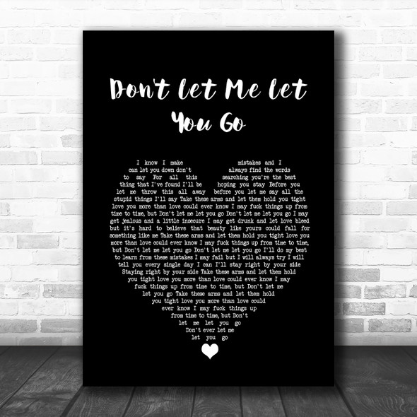 Jamie Lawson Don't Let Me Let You Go Black Heart Song Lyric Wall Art Print