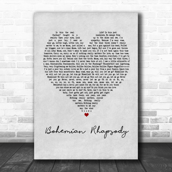 Queen Bohemian Rhapsody Grey Heart Song Lyric Music Wall Art Print