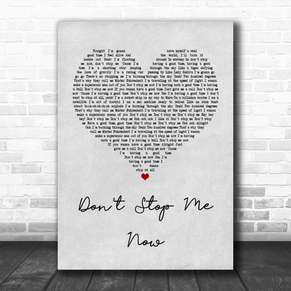 Queen Don't Stop Me Now Grey Heart Song Lyric Music Wall Art Print