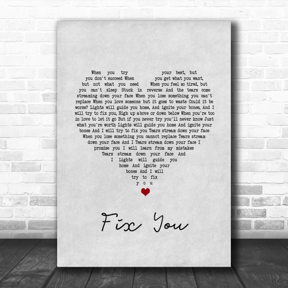 Coldplay Fix You Grey Heart Song Lyric Music Wall Art Print