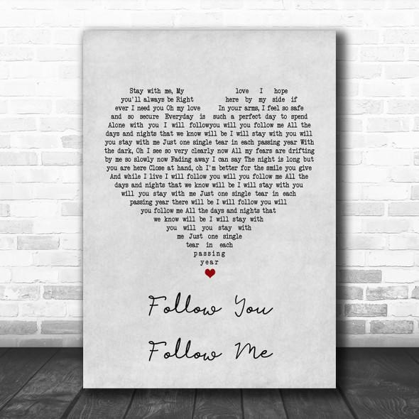 Genesis Follow You Follow Me Grey Heart Song Lyric Music Wall Art Print