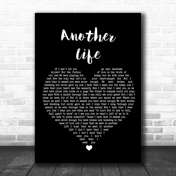 Motionless In White Another Life Black Heart Song Lyric Wall Art Print